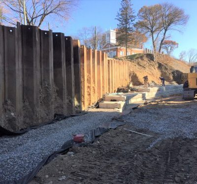 Norwalk Retaining Wall 35' sheet piling